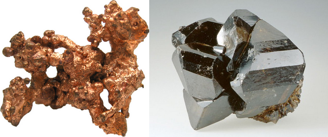 À esquerda, cobre, como encontrado na natureza; à direita, estanho.